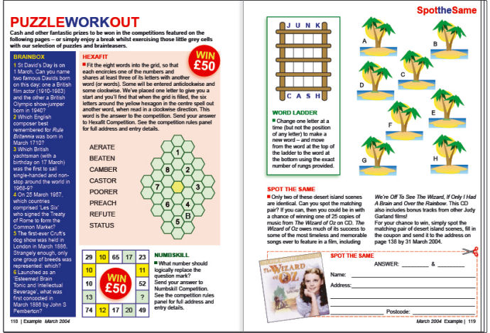 Magazine puzzles page 109Kb